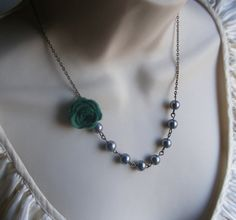 Holiday Green Felt Flower Necklace with Dark Grey Pearls. Beaded