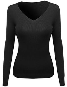 Women's Sweatshirts - Awesome21 Womens Long Sleeve Vneck Ribbed Sweater -- See this great product.