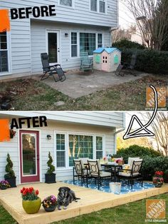 Patio On A Budget Diy Backyard Makeover.Backyard Porch Ideas On A Budget Patio Makeover Outdoor . 15 Before And After Backyard Makeovers HGTV. Creative And Low Budget DIY Outdoor Bar Ideas! Home Design Ideas Building A Floating Deck, Building A Patio, Floating House, Patio Diy, Wood Patio, Concrete Slab Patio, Pallet Patio Decks, Concrete Patio Designs, Diy Porch