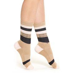 Women's Stance 'Pintuck' Crew Socks (1540 RSD) ❤ liked on Polyvore featuring intimates, hosiery, socks, khaki, crew cut socks, stance socks, striped crew socks, crew socks and stripe socks