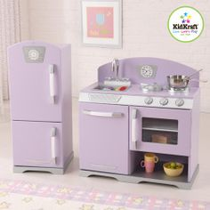 Look at this Lavender & Pink Retro Personalized Kitchen & Refrigerator on today! Lavender Kitchen, Purple Kitchen, Kids Play Kitchen, Play Kitchens, Toy Kitchen Set, Wooden Kitchen, Rustic Kitchen, Home Decor Kitchen, Toys