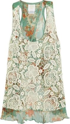 ANNA SUI greens and coral floral with a cream lace overlayer top. Sleeveless tank with cutout back. by Quella