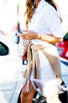 White button-down shirt + white fringe skirt