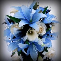 blue Wedding bouquets and decorations | Blue - Blue Lily Bouquet - Wedding Flowers | Perfect Wedding Guide