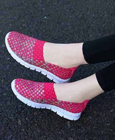 Women's #red #SlipOn casual shoe sneakers knit check pattern, casual, leisure, occasions