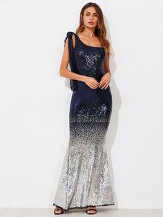 Tie Shoulder Ombre Fishtail Sequin Dress -SheIn(Sheinside) Fishtail bc0fce48be7f