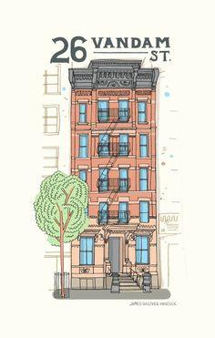 Ilustrador australiano registra os prédios de Nova York.  http://allthebuildingsinnewyork.com/new/