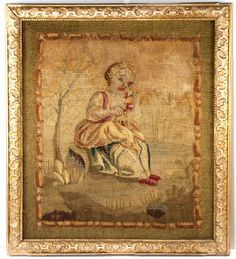 Antique Frame and French Gobelin or Aubusson Woven Tapestry from antiques-uncommon-treasure on Ruby Lane Tapestry Weaving, Wall Tapestry, Antique Frames, Weaving Techniques, Zodiac, Ruby Lane, Antiques, Fabric, Painting