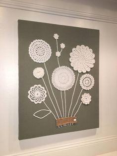 doilies crafts wall art ~ doilies crafts - doilies crafts for kids - doilies crafts repurposed - doilies crafts diy - doilies crafts vintage - doilies crafts wall art - doilies crafts for kids valentines day - doilies crafts shabby chic Doilies Crafts, Crochet Doilies, Crochet Flowers, Fabric Crafts, Crochet Wall Art, Crochet Wall Hangings, Crochet Home, Framed Doilies, Doily Art
