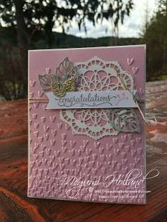 Stamps - So in Love.  Paper - Very Vanilla, Blushing Bride, Sahara Sand, Shimmery White, Gold Glimmer.  Ink - Tip Top Taupe, Blushing Bride.  Tools and Accessories - Lace Doilies,  Linen Thread.  Big Shot - Falling Petals Embossing Folder, Stylish Stems Framelits Dies.