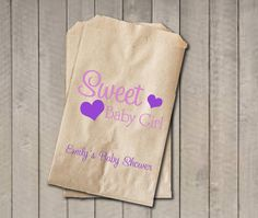 Girl Baby Shower Favor Bags, Sweet Baby Girl Bags, Custom Baby Shower Bags, Baby Shower Candy Buffet - Pink & Purple