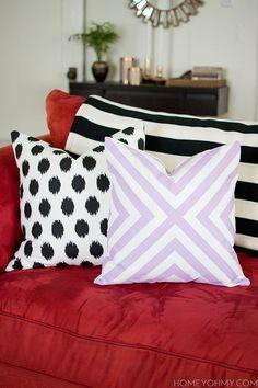 DIY No Sew Pillow Covers - I think I'd sew mine.