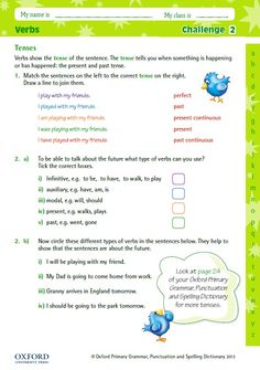 Help children learn about verbs with this free challenge activity linked to the Oxford Primary Grammar, Punctuation and Spelling Dictionary. You can find out more about this dictionary at: https://global.oup.com/education/product/9780192734211/