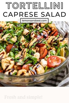 Caprese Salad Recipe, Caprese Pasta Salad, Summer Pasta Salad, Soup And Salad, Tomato Mozzarella Basil Salad, Unique Pasta Salad, Summer Pasta Recipes, Easy Summer Salads, Gourmet
