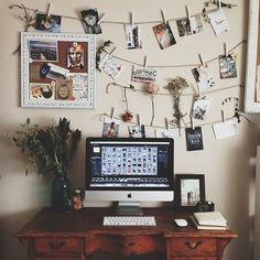 Workspace design /// clothespins and twine