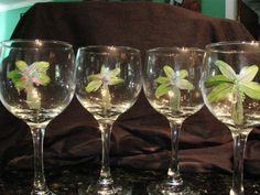Feather palm tree wine glasses