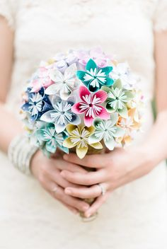 Creative paper flower bouquet.