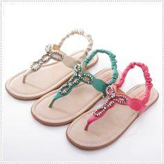 BN T-Strap Beaded Goddess Flat Gladiator Slingback Sandals Pink Green Beige #Unbranded #Gladiator