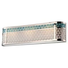 "Eco-friendly vanity light with a white lucite shade.    Product: Vanity light      Construction Material: Glass and metal   Color: Polished nickel and turquoise     Features:   Eco-friendly  3.62"" Extension           Accommodates: (3) LED bulbs - included      Dimensions: 7 H x 26.75 W"