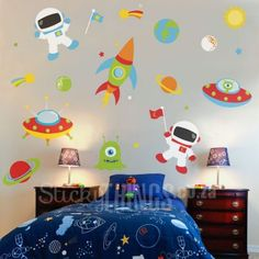Our Outer Space Vinyl Wall Sticker has 2 astronauts, space ships, aliens and lots of planets and stars. Vinyl Wall Art, Wall Decals, Boys Wall Stickers, Monkey Nursery, Bubble Wall, Star Wallpaper, All Wall, Outer Space, Libraries