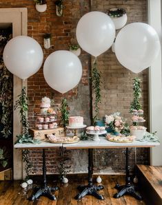 bridal or baby shower dessert treat table balloons vintage travel theme Baby Shower Parties, Baby Shower Balloon Ideas, Baby Shower Table Set Up, Baby Shower Treats, Baby Girl Shower Themes, Bridal Shower Balloons, Library Baby Shower Theme, Shower Ideas, Bridal Shower Table Decorations