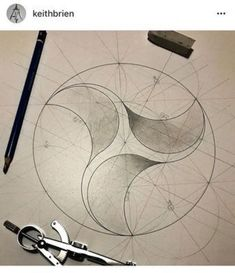 Triangular arcs made within a circle. A beautiful example of geometry and art, and propeller design. Geometry Pattern, Pattern Art, Geometric Drawing, Geometric Shapes, Sacred Geometry Art, Circle Geometry, Geometric Construction, Math Art, Mandala Design