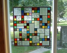 Phenomenon Stained Glass Window Panel Abstract Geometric EBSQ Artist