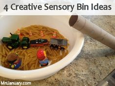 """Play 2 Ways"" Sensory Bins via MrsJanuary.com  These are great ideas. Being a first time mom I've never heard of sensory bins but these seem like a lot of fun!"