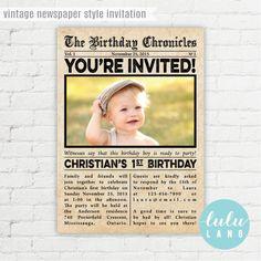 Newsies birthday invite or baby announcement idea vernon items similar to vintage newspaper style birthday invitation printable on etsy stopboris Images