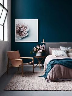 Navy Blue Bedroom Ideas Lovely 20 Beautiful Blue Rooms Ideas to Decorate with Blue Blue Bedroom Decor, Bedroom Green, Bedroom Colors, Girls Bedroom, Bedroom Ideas, Trendy Bedroom, Bedroom Modern, Bedroom Neutral, Bedroom Romantic