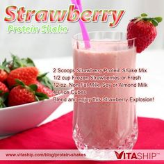 Strawberry Protein Shake Recipe by USA Flag Co. Add strawberry protein shake mix, frozen strawberries to almond milk and enjoy this Strawberry Explosion! Arbonne Shake Recipes, Arbonne Protein Shakes, Strawberry Protein Shakes, Isagenix Shakes, Best Protein Shakes, Protein Shake Recipes, Healthy Recipes, Smoothie Recipes, Herbalife Recipes
