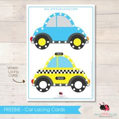 Free printable car lacing cards.