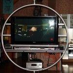 TV-RACK-RING Der 360° drehbare und freistehende, jedoch ortsfeste (Deckenbefestigung) TV-Rack-Ring ist für den gesamten Home-Entertainment-Bereich der Unterhaltungselektronik von großen Flachbildschirmen, CD- und DVD-Geräten gedacht. Dieser Ring eignet sich besonders für einen großen Flachbildschirm ab ca. 40 Zoll, der in unterschiedliche Richtungen des Raumes gedreht werden soll, um immer ein volles Bild zu sehen.