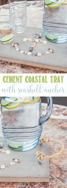 A Cement Coastal Serving Tray with Seashell Anchor is my take on Home Depot DIH Workshop for a great summer DIY project you'll love making. Diy Arts And Crafts, Diy Craft Projects, Diy Crafts For Kids, Box Cake Mix, Cement Crafts, Summer Diy, Anchor Rope, Craft Sale, Coastal Decor