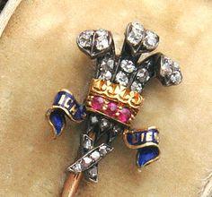 Garrard Prince of Wales Stickpin Tie Pin, Men Stuff, Stick Pins, Prince Of Wales, Lapel Pins, British, Bling, English, Antiques