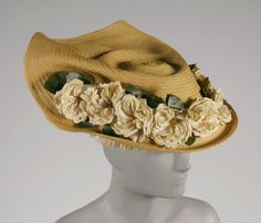Woman's hat | France, 1908 | Designed by Caroline Reboux (French, 1865-1927) | Materials: straw, articial flowers, silk ribbon, lace | Philadelphia Museum of Art