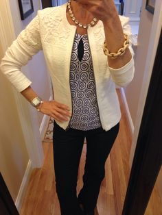 OOTD...CAbi Spring '14  Occasion Jacket, Medallion Top, Simple Cami and Fall '12 Farrah Jeans. www.nancydowning-schloss.cabionline.com  Braving the elements today with open toe booties...