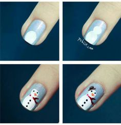 Snow man nails step by step