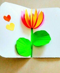 lotus pop up card Foam Crafts, Diy And Crafts, Crafts For Kids, Arts And Crafts, Paper Crafts, Carpeaux, Lotus Flower Art, Pop Up Art, Spring Tree