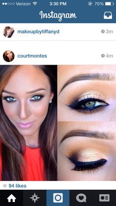 Natural day eye look with black liner via court montes