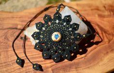 macrame necklace opal light micro macrame mandala in fractal