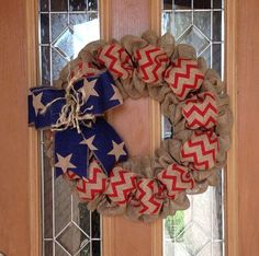 4th Of July Burlap Wreath Natural Blue and Red Chevron by leanne