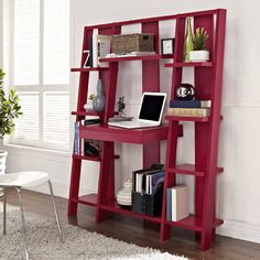 Red Ladder Bookcase with Desk // clever design that combines a desk, pull-out drawer and storage shelves in one space-saving design - neat! Bookcase Desk, Wooden Bookcase, Ladder Desk, Ladder Shelves, Leaning Bookshelf, Ladder Storage, Barrister Bookcase, Bookcase White, Bookcases