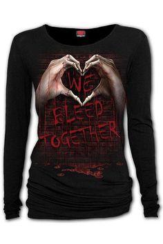 We Bleed Together - Baggy T... Black Lingerie, Lingerie Set, Gothic Tops, Baggy Tops, Badass Style, Black Tops, Looks Great, Graphic Sweatshirt, Sweatshirts