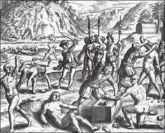Arawaks faced Spaniards who had armor, muskets, swords, horses. When the Spaniards took prisoners they hanged them or burned them to death. Among the Arawaks, mass suicides began, with cassava poison. Infants were killed to save them from the Spaniards. In two years, through murder, mutilation, or suicide, half of the 250,000 Indians on Haiti were dead.