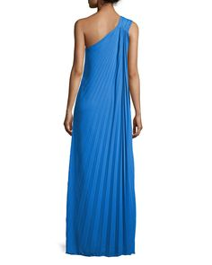 Halston Heritage Pleated One-Shoulder Gown with Flower Detail, Aquamarine 1970s Disco, One Shoulder Gown, Halston Heritage, Retro Look, Last Call, Wedding Attire, Neiman Marcus, Gowns, Formal Dresses