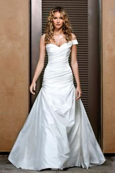 Jenny Lee 2011 bridal gown collection - silk organza shantung and alecon lace wedding dress with one shoulder ruched bodice, pick up skirt