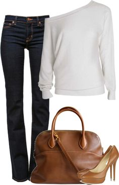 Off shoulder white sweater, boot cut jeans matching heels and bag. Classy.
