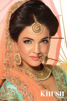 new bridal jhumka and nose ring 2015 amazing collection for south Asian brides. Indian Bridal Makeup, Indian Bridal Fashion, Asian Bridal, Bridal Hair And Makeup, Indian Look, Bollywood, Pakistani Bridal, Beautiful Bride, Indian Beauty