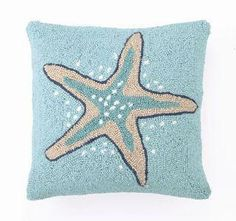 Coastal Beach Decor Starfish Blue Hook Pillow